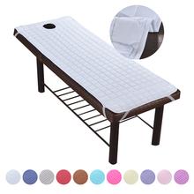 Miękki poliestrowy masaż stolik przy łóżku arkusz elastyczny zabieg SPA relaks stolik przy łóżku narzuta z otworem na twarz tanie tanio Urijk CN (pochodzenie) Massage bed cover Poliester bawełna Dorosłych Prześcieradło 200tc Klasa a Stałe Bielone Zwykły