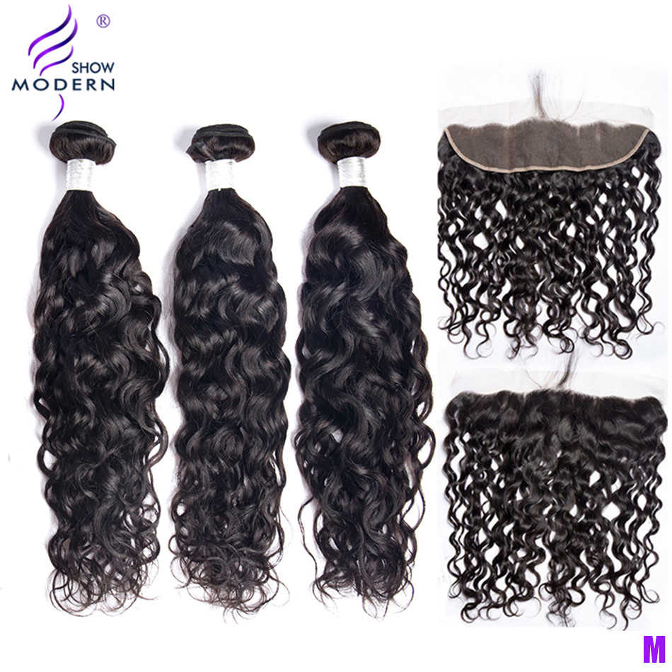 Modern Show Water Wave Bundles With Frontal 3 Bundles Brazilian Hair Weft Middle Radio Remy Human Hair Lace Frontal With Bundles
