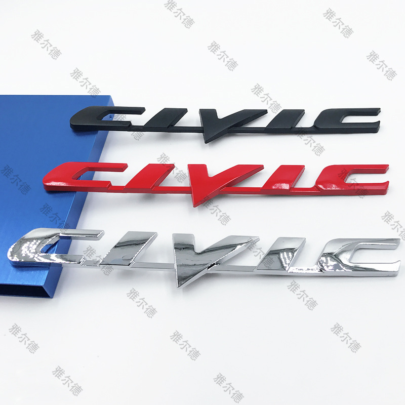 1pcs ABS Metal Car Tail Trunk Decorative Stickers Emblem Car Stickers Car Styling Badge For HONDA Civic Letter Logo Sign