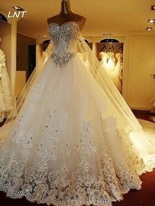 Image 4 - Vestidos de casamento cristais luxuosos, vestidos de casamento com trem traseiro destacável, vestidos de noiva plus size