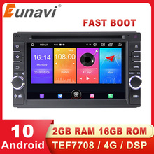 Eunavi 2 Din Universal Android 10 Car Multimedia Player Auto DVD Radio stereo GPS Navigation Audio TEF7708 4G WIFI DSP RDS USB цена 2017