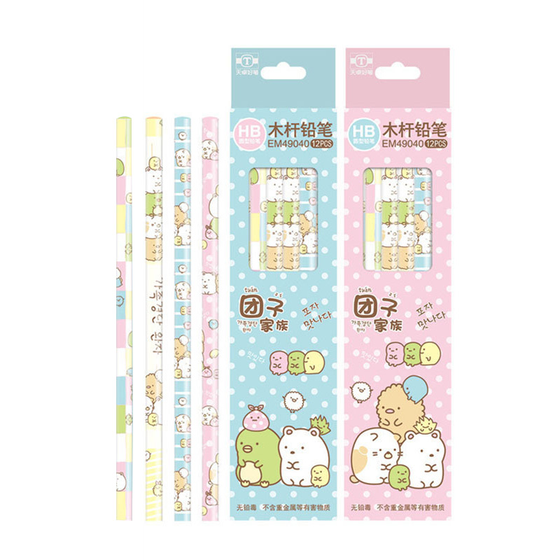 1Pc Cute Cartoon Wooden HB Pencils Kawaii Colorful Student Cylindrical Pencil For Kids Gift School Supplies Pencil Stationery