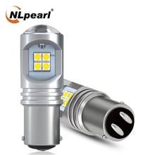 Nlpearl 2x lâmpada de sinal 1157 bay15d led p21/5w luz de freio 3030smd p21/5w p21w ba15s 1156 bau15s py21w led turn signal lâmpada branco