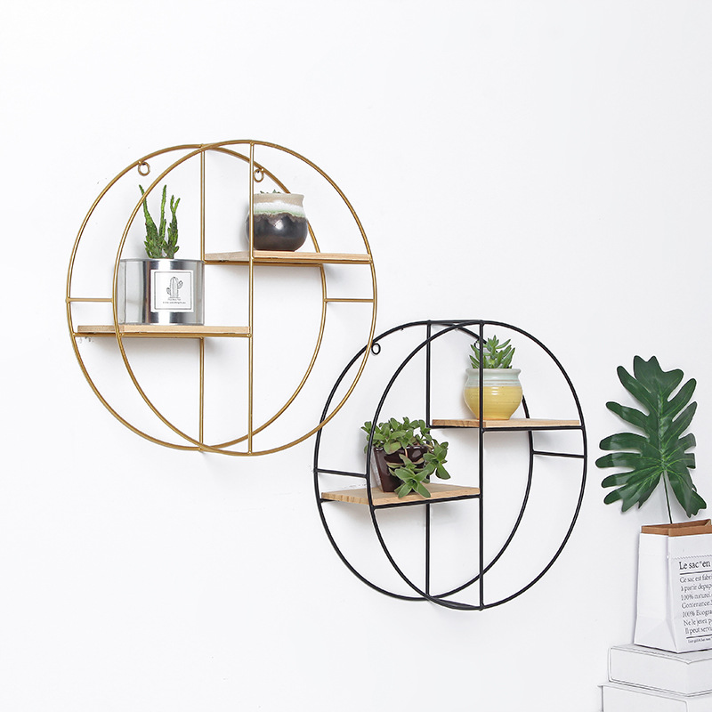 Nordic Shelf Iron Round Wall Rack Home Decoration Living Room Bedroom Background Wall Decoration Storage Rack Shelf