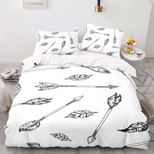 Duvet-Cover-Set Size-Bedding with Pillowcase 203229 Black Arrow Pattern-King Bohemian-Style