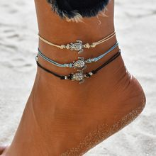 Modyle Vintage Multiple Layers Anklets for Womens Bohemian Retro Turtle Rope Anklet Sexy Beach Bracelets Animal Foot Jewelry()