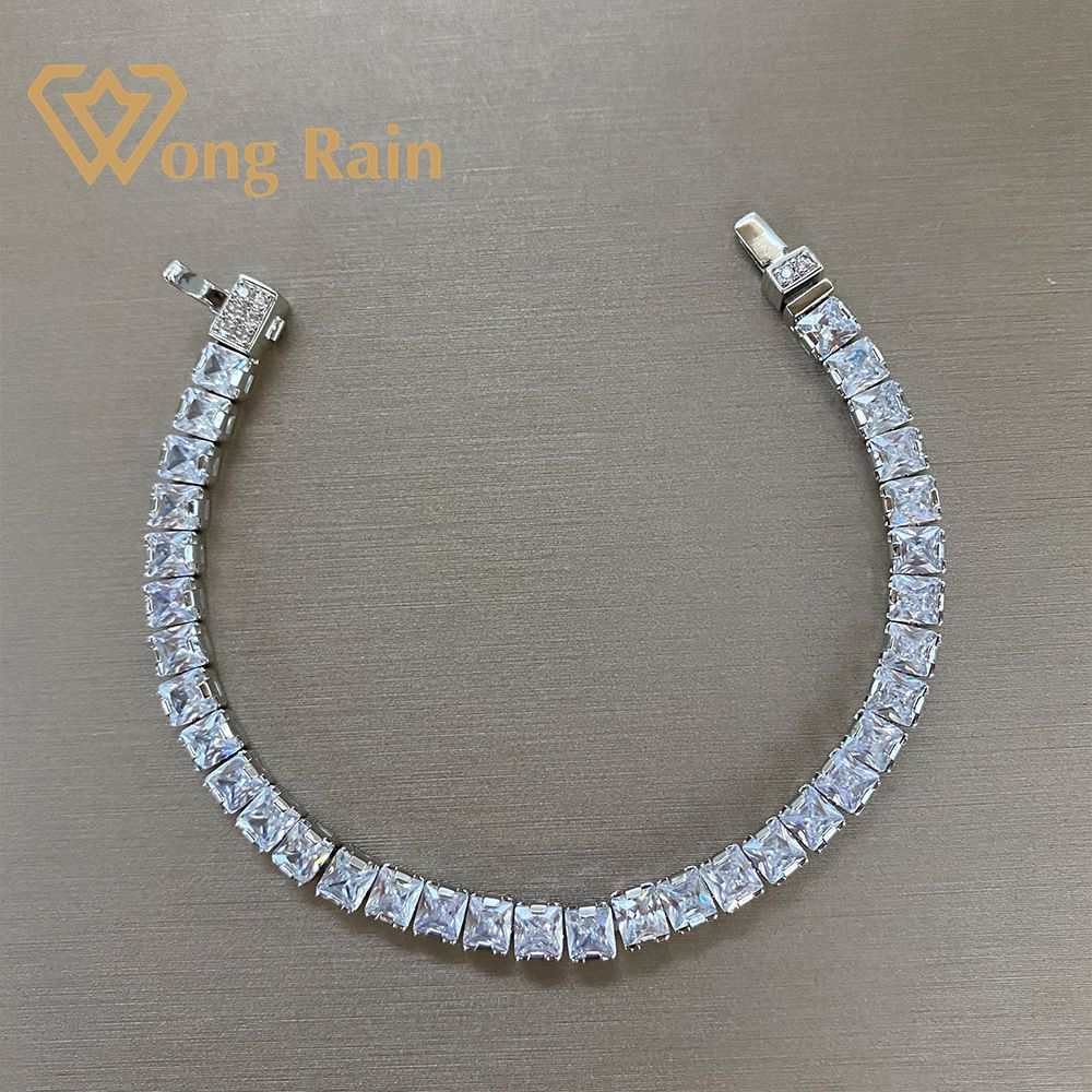 Wong Rain 925 Sterling Silver Created Moissanite Gemstone Bangle Charm Wedding Bracelet Fine Jewelry Wholesale Drop Shipping