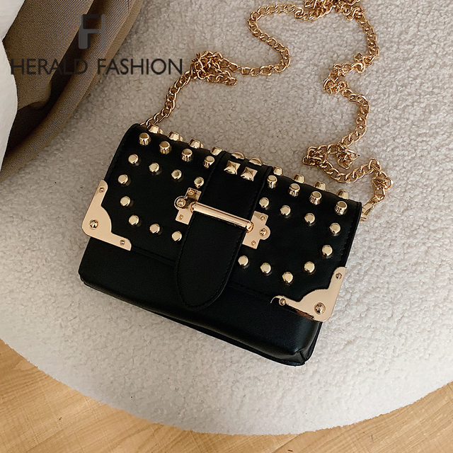 Chain PU Leather Crossbody Bags For Women 2020 Fashion Rivet Shoulder Messenger Bag Female Solid Color Small Handbags and Purses