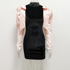 Image 4 - Jillperi女性の冬の長袖蝶ネクタイベルベットパーティードレスファッションパフスリーブパッチワークストレッチセクシーなショート衣装ミニドレス