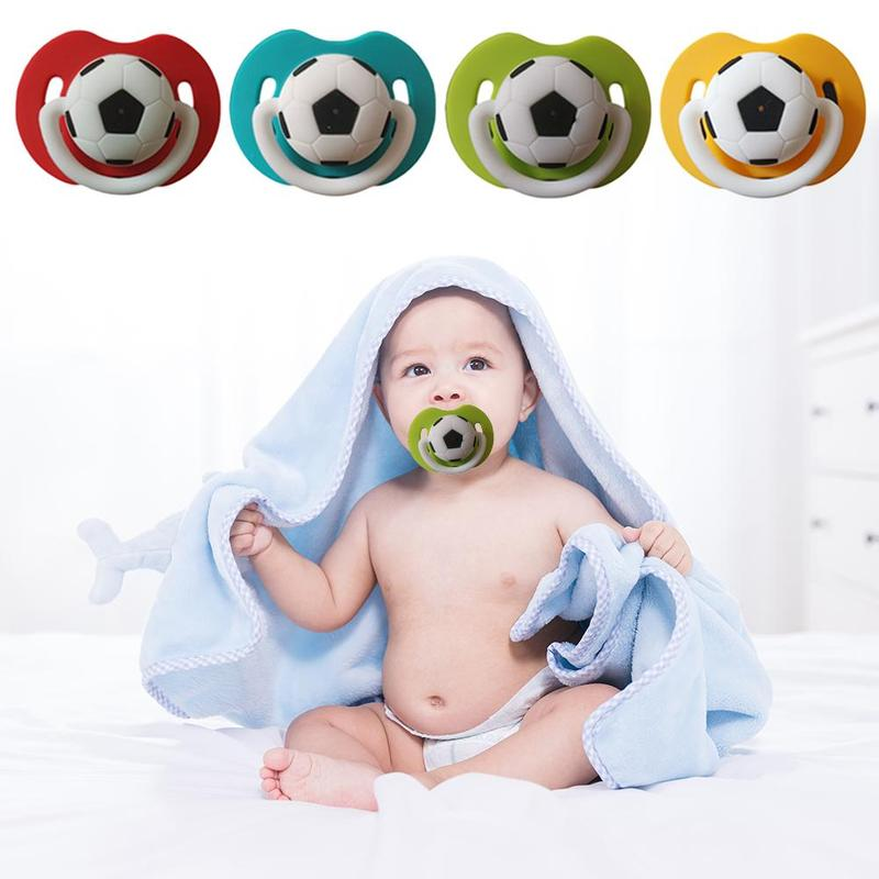 Newborn Baby Soccer Pacifier With Pull Ring Dummy Football Pacifier Silicone Nipple Teether Soother Newborn Dental Care