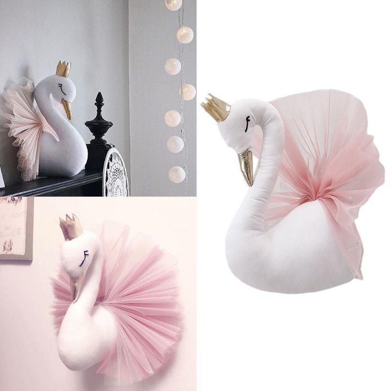 3D Gold Crown Swan Headdress Wall Art Hanging Ornament Nursery Kids Room Decoration Children Gift Photography Props