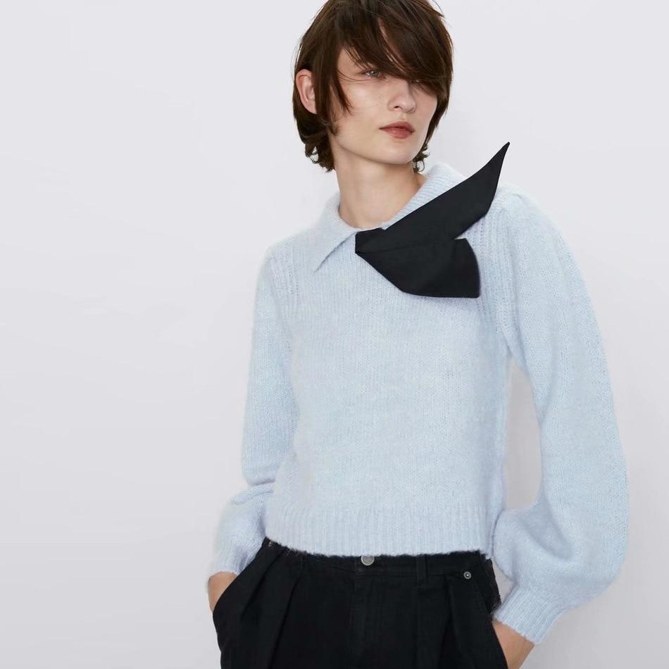 Милый женский осенний Новый Повседневный свитер с бантом, v-образный вырез, длинный рукав, дизайнерский вязаный пуловер, свитер, Blusas Mujer De Moda