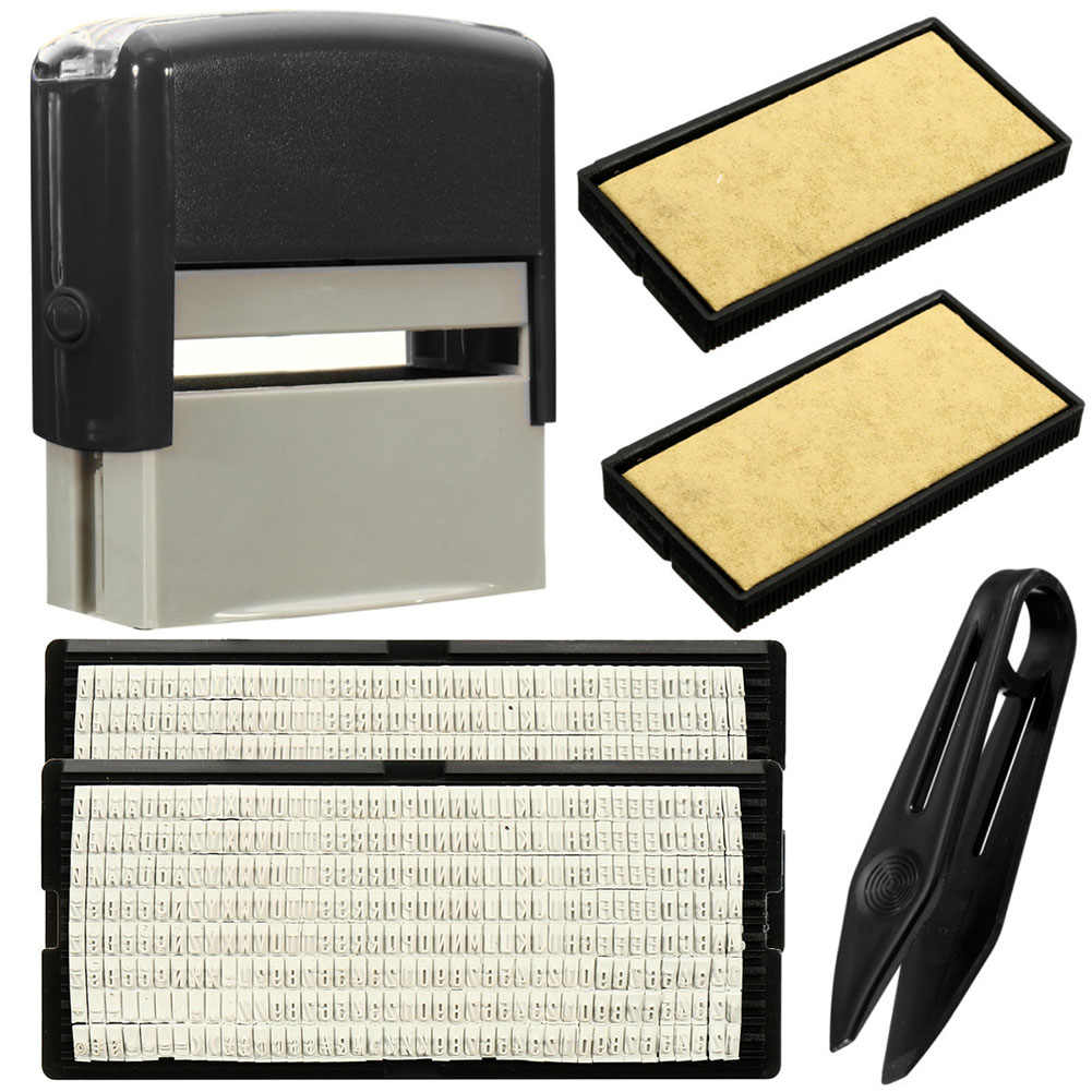1 Pcs Custom Personalised Self Inking Rubber Stamp Kit Business Name Address DIY JS21