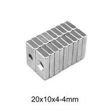 5 60 60 pces 20x10x4-4 forte quadrate neodímio ímã buraco 4mm ndfeb magnético 20x10x4-4mm bloco ímãs de terras raras 20*10*4-4mm