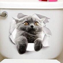 Горячая 3D милый котенок наклейка на крышку унитаза дети спальня стены Deocration Кот мультфильм наклейки на холодильник