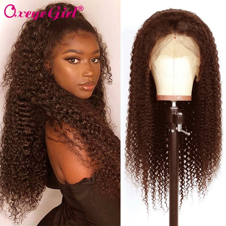 Afro Kinky Curly Wig 360 Lace Frontal Wig Pre Plucked With Remy Oxeye Girl Brazilian Hair Lace Front Human Hair Wigs 2#&4# Color