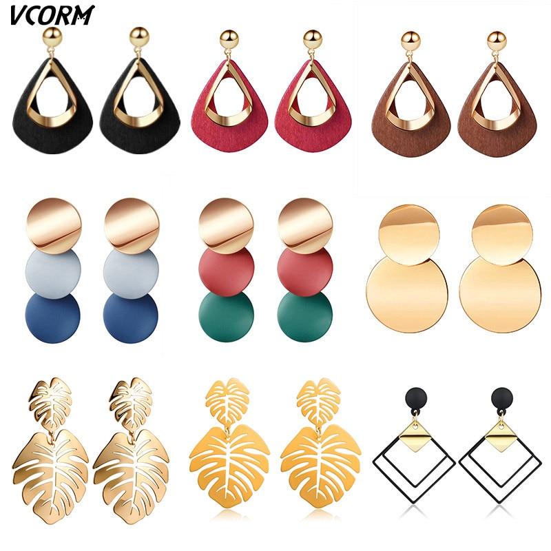 New Korean Acrylic Earrings For Women Statement Vintage Geometric Gold Dangle Drop Earrings 2019 Female Wedding Fashion Jewelry 5