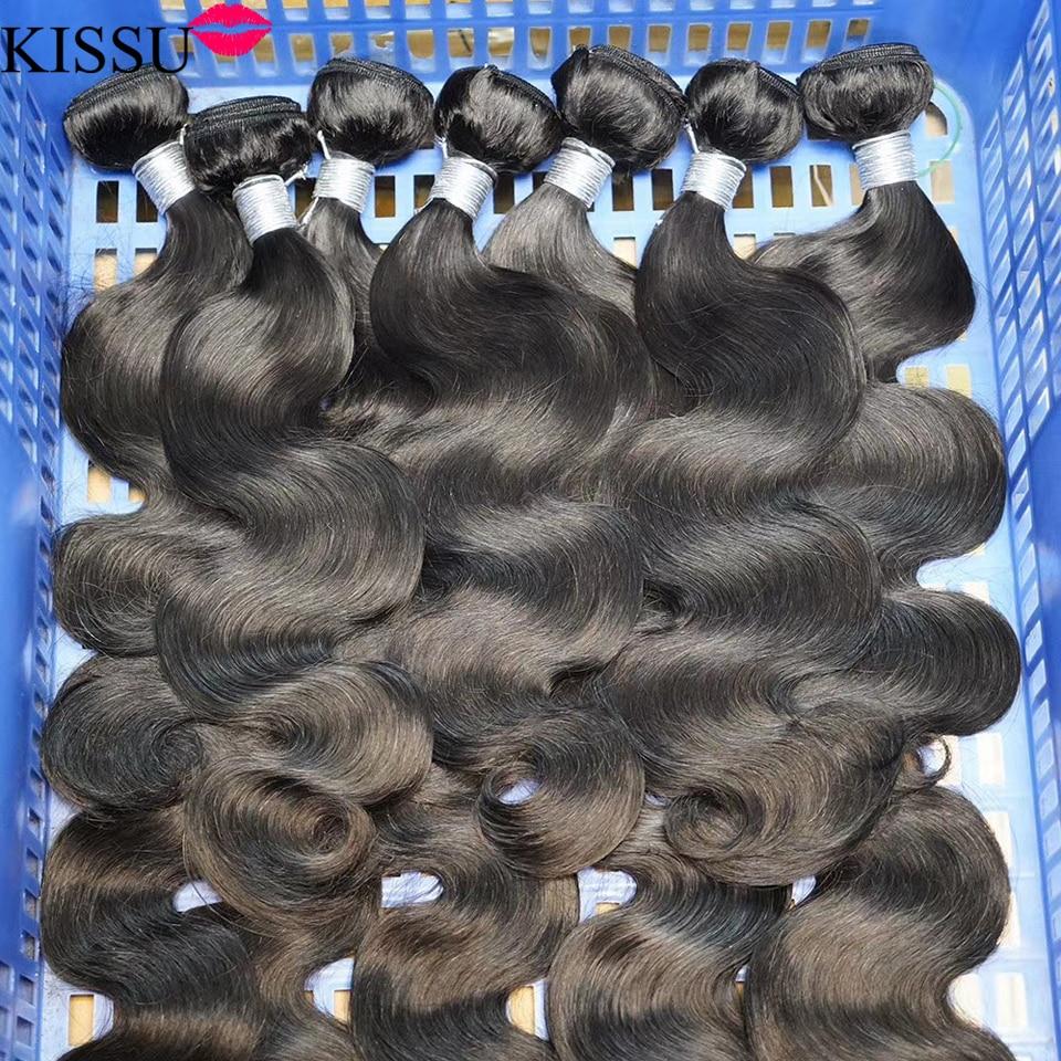 KISSU Wholesale Body Wave 3 4 Bundles 100% Human Hair Bundles Deals Brazilian Hair Weave Bundles Non-Remy Weft Hair Extension