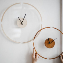 Creative transparent floating wall clock modern minimalist wooden wall watch
