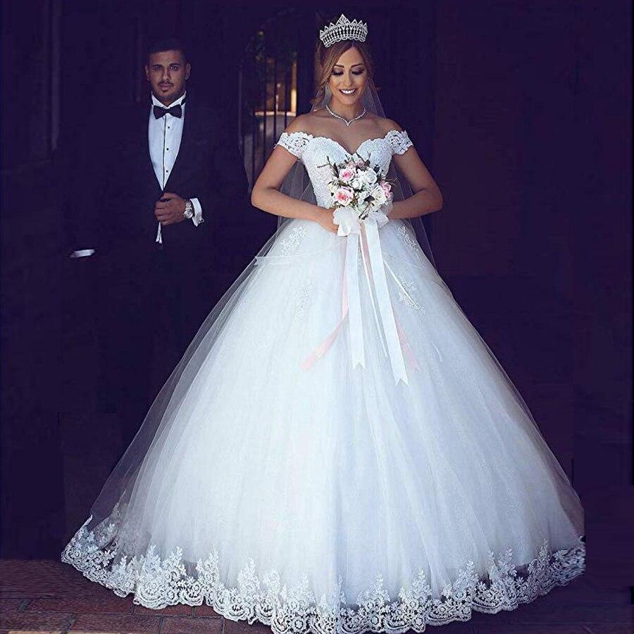 Off Shoulder Ball Gown Lace Applique Wedding Dress Lace Up Back  Bridal Gowns Vestido De Noiva Sereia