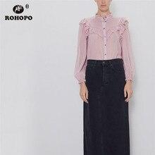ROHOPO Polk Dot Overlocked Neckline Ruffled Shoulder Long Sleeve Pink Blue Blouse Semi Transparent Ladies Chiffon Shirt #9587
