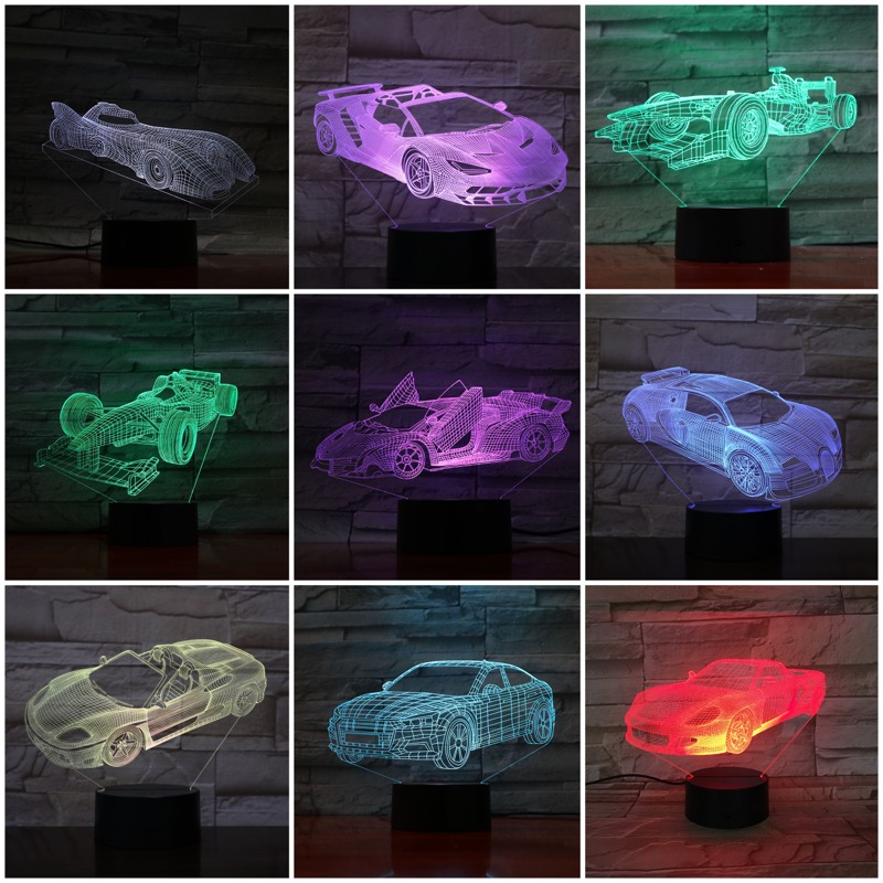 Sports Car 3D LED Night Light 7 Color Changing Lamp Room Decoration Action Figure Toy For Birthday Christmas Gift