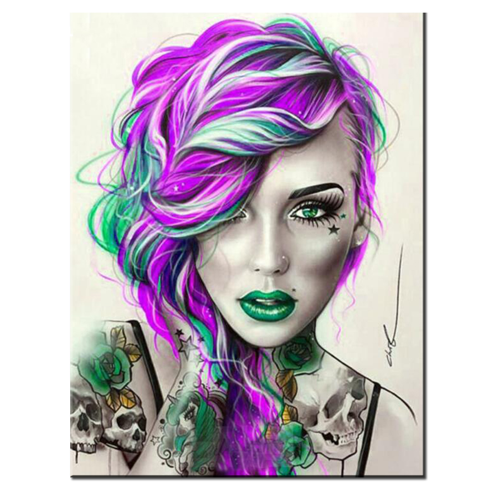 siimoon Diamond Art Painting Skull woman Full Square round Color girl tattoo picture Handmade Craft Home Leisure Handmade Gift-0