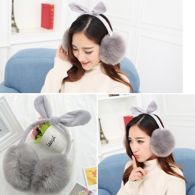 1xWarm Winter Ear Muffs Ear Cache Warmers Soft Imitation Rabbit Fur Ear Muffs Solid Fake Rabbit Fur Warm Earmuffs Accessories