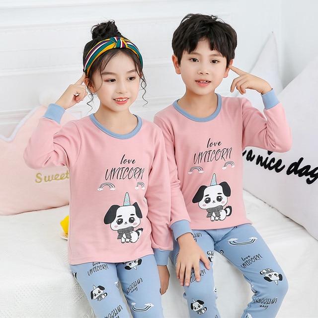 Kids Girls Boys Cartoon Pyjamas PJS Sets Children Sleepwear Nightwear Outfits UK