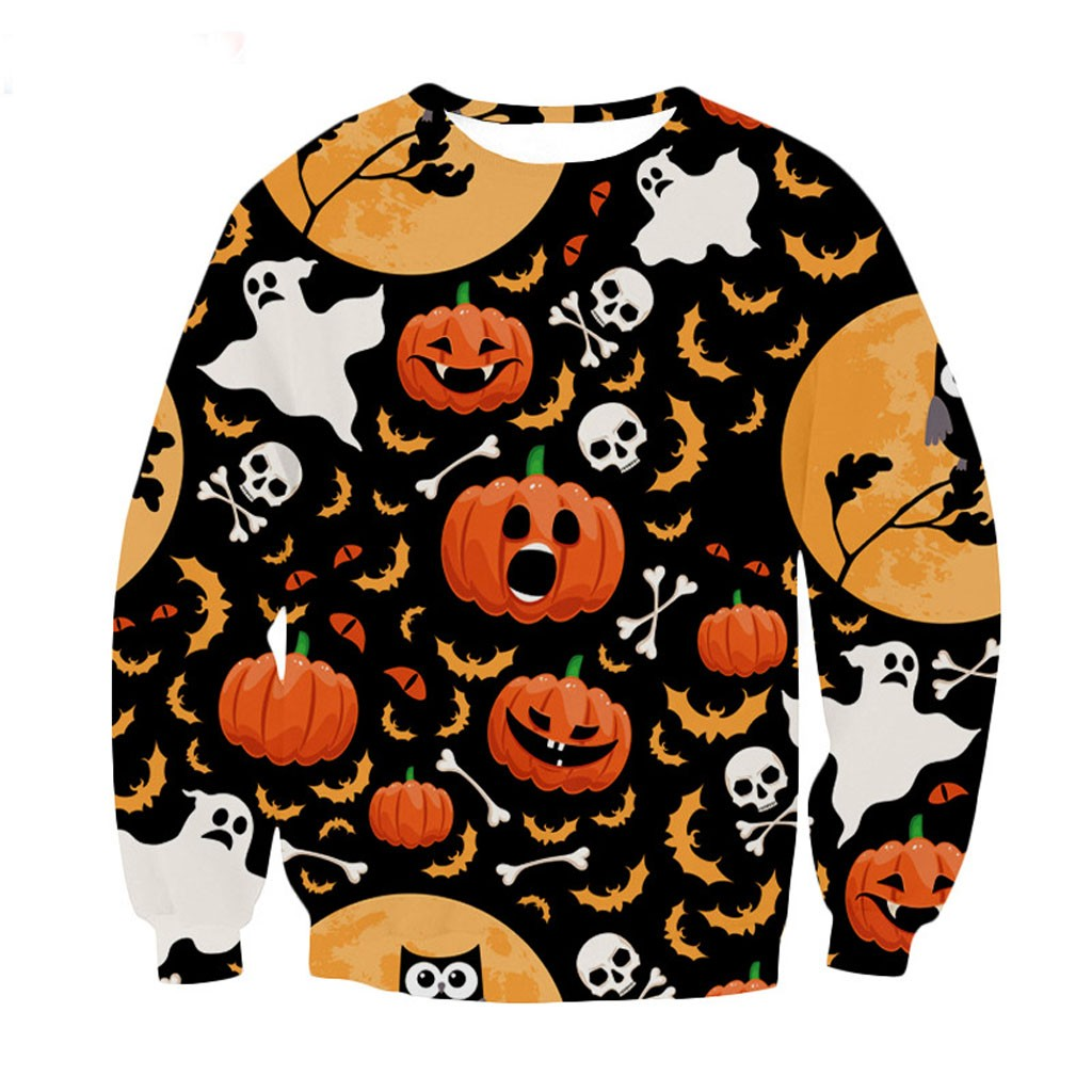 Men 39 s T Shirt Long Sleeve Autumn And Winter Mens Casual Scary Halloween 3d Printed Long Sleeve Shirt Round Neck Blouse Top in T Shirts from Men 39 s Clothing