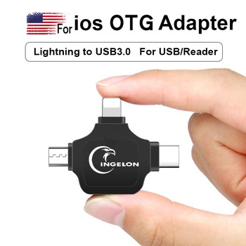 3in1 OTG Card Reader for ios/Type C/Android Phone New Cardreader USB3.0 No App Required Reader for ios 13 Version or Up Dropship