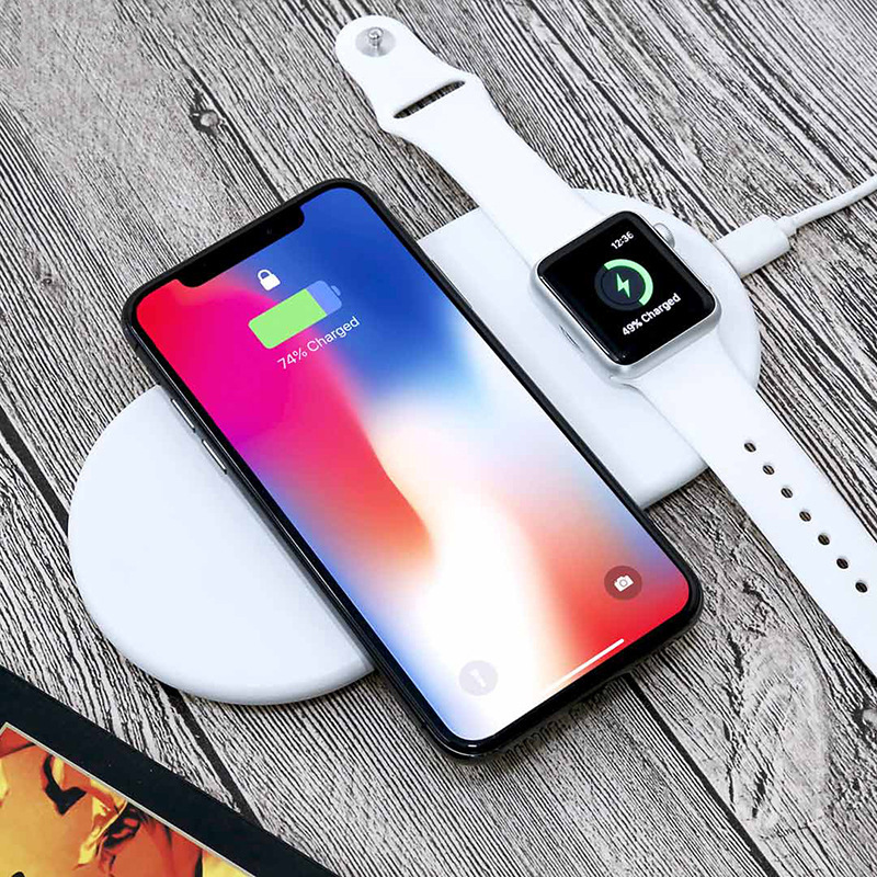 2 In 1 QC 2.0 charger For Apple Watch 4/3 Iphone X 8 8 plus 10W Wireless Fast Charge Pad for iWatch 4 3 2 1 Samsung Galaxy S9 S8 Watch Stents    - AliExpress