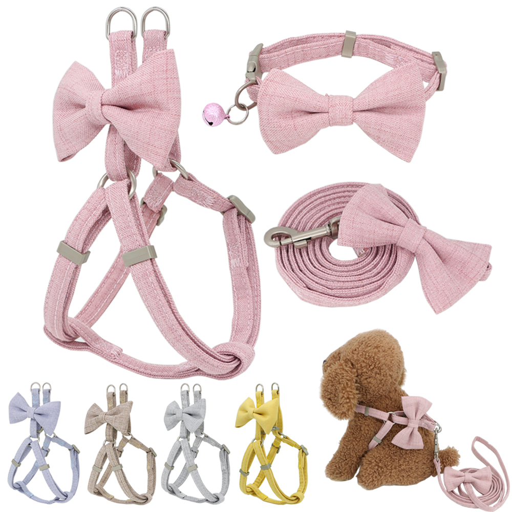 Dog Harness Leash Collar Set Adjustable Soft Cute Bow Double Layer Dog Harness for Small Medium Pet Collar Leash Outdoor Walking