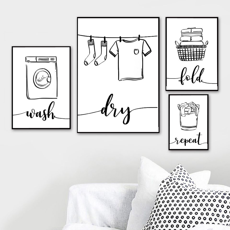 Wall Art Print Canvas Painting Nordic Poster Wash Dry Fold Repeat Laundry Sign Black White Pictures Bathroom Home Decor Modular(China)