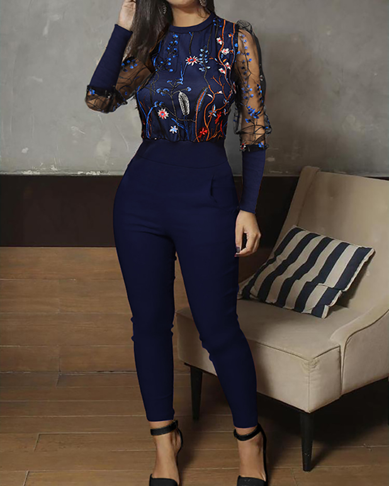 2020 Women Elegant Fashion Blue Party Jumpsuits Female Stylish Casual Patchwork Mesh Floral Embroidery Jumpsuit