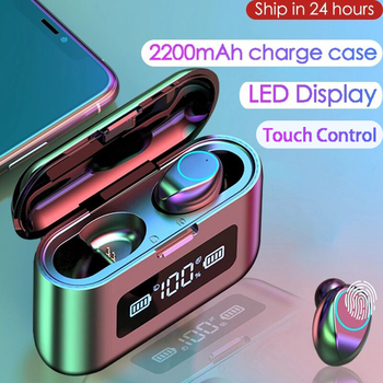 2020 New Bluetooth Earphone Wireless Headphone LED Display Charging Box 2200mAh TWS Sports Waterproof Earphones Headset Earbuds недорого