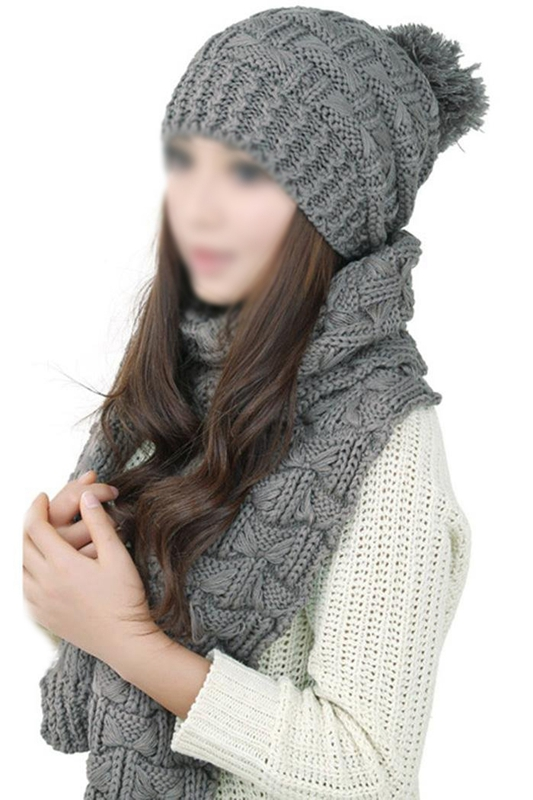 Women's Winter Knitted Scarf And Hat Set Thicken Skullcaps-gray