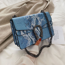 2020 New Ladies Bag PU Leather Solid Color Fashion Lizard Pattern Small Bag Crossbody Chain Bacchus Bag cat pattern chain crossbody bag