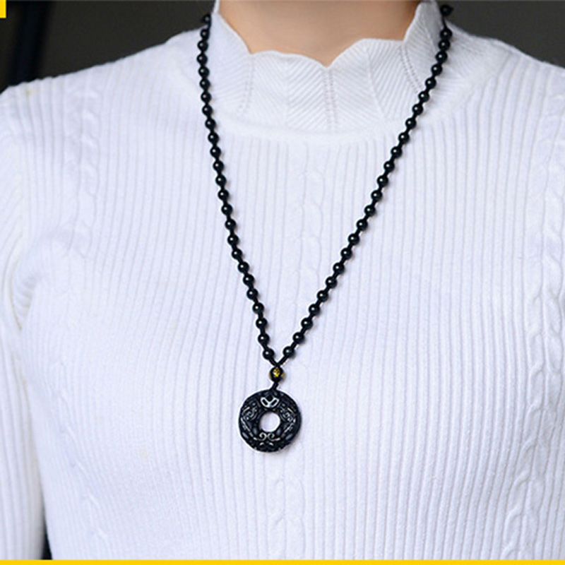 100% Black Obsidian Pendant Carved Pixiu doughnut Buckle Pendant Beads Necklace Gift for Women Men crystal Jewelry Free Rope