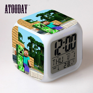 Alarm Clock Lcd Display 7 Color Change Led Light Reloj Klok Vintage Table Square Digital-Watch Thermometer
