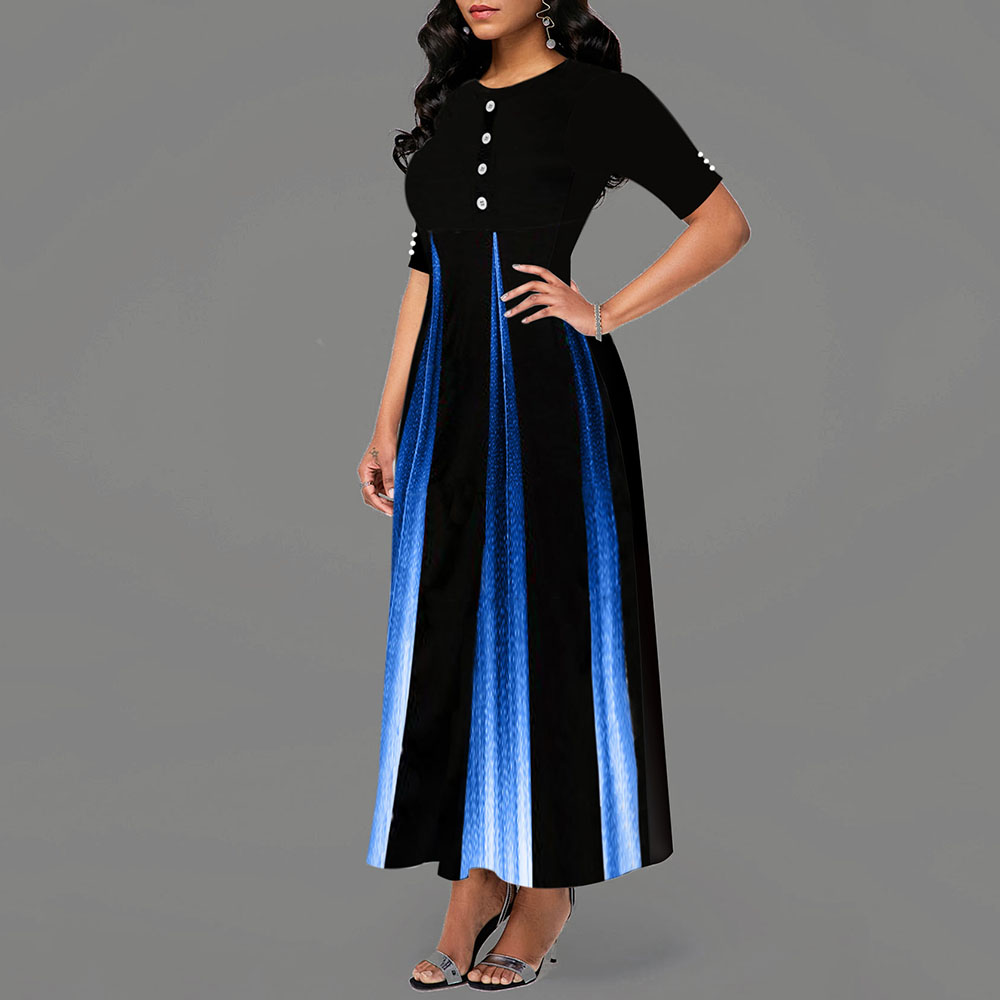 Maxi Elegant Party Dress Women Half Sleeve Floral Ankle-Length Female Black Wedding Party Dress A-line Prom Dress robe femme