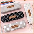 Холст геометрический Пенал школьный простой полосатый сетки сплошной цвет милый пенал Kawaii сумка офисные студенческие Товары для детей