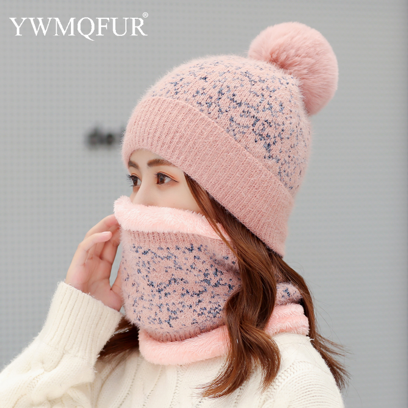 Winter Imitation Mink Cashmere Women's Hat Scarf Sets Female Beanies Caps With Artificial Fox Fur Pompom Thick Warm Lady Hats