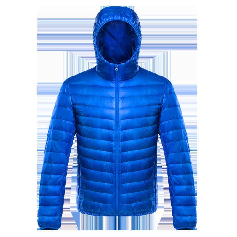 Nowy 2019 jesienno-zimowa Ultralight męskie bawełniane dół kurtki lekkie płaszcze Casual klasyczne płaszcze dla mężczyzn Plus rozmiar S-XXXL