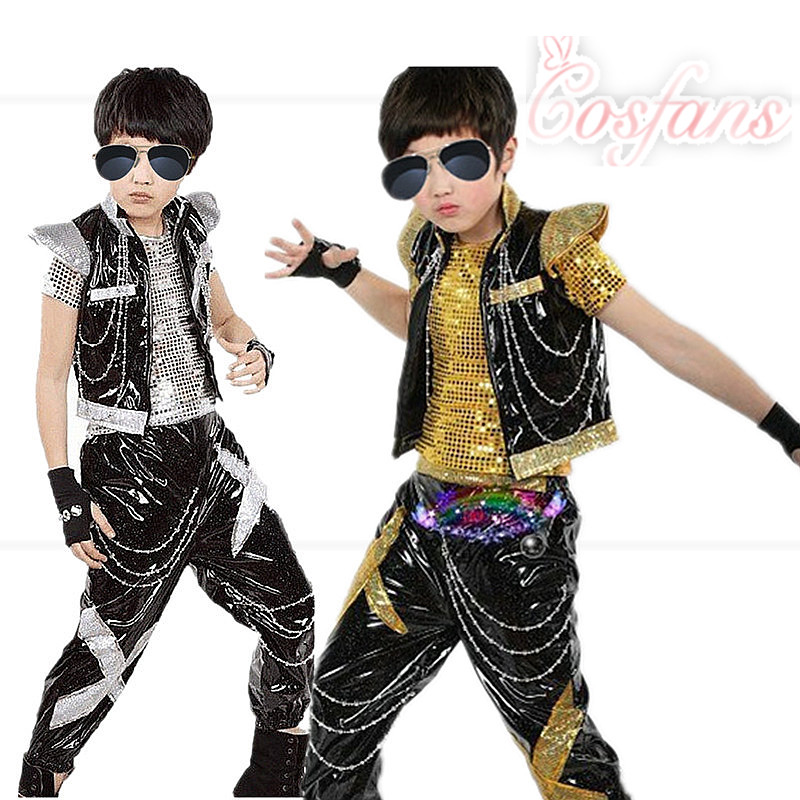 Sequined Ballroom Jazz Hip Hop Dance Costumes Kid Performance Dance Clothes Tops+ Shirt Dance Stage Wear Outfits Boys Dance Wear