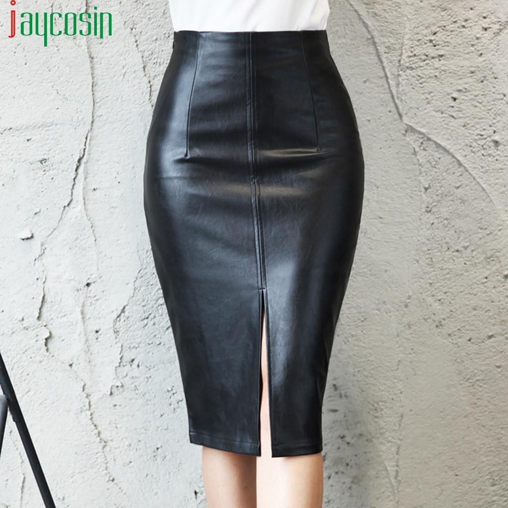 Women High Waist Long Leather Skirt Black High Waist Slim Fashion Female Office Skirt Breathable Ladies Plus Size Party Skirt