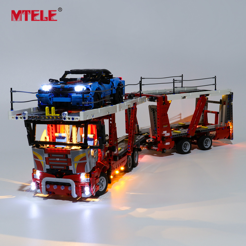 MTELE Brand LED Light Up Kit For TECHNIC Car Transporter Toy Building Blocks Lighting Set Compatile With 42098