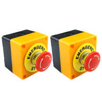 2Pcs Red Mushroom Emergency Stop Shut Off Push Button Switch No + Nc 22Mm Cnc Gecko