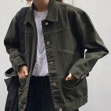 Casual Vintage Female Jacket Korean Loose Womens Denim Black Green Coat Spring Autumn Pocket Jeans Women