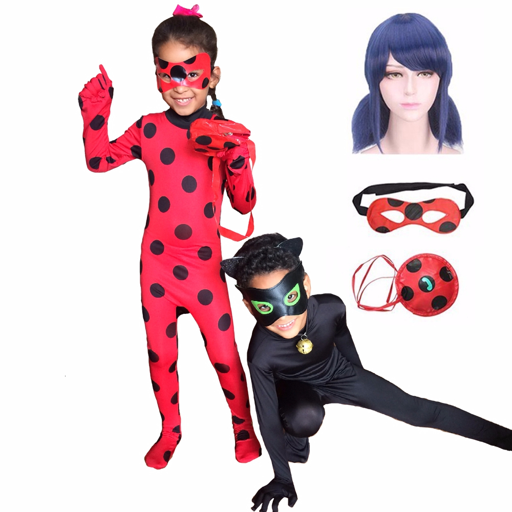 Adult Kids Fantasia Lady Cosplay Bug Costume Black Cat Noir Full Set Halloween Costume Lady Spandex Marinette Bug Zentai Suit 1